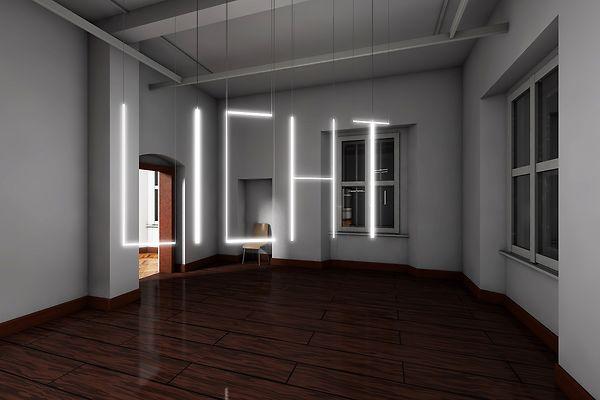 """Neonröhren hängen von der Decke und Bilden das Wort """"Licht""""."""
