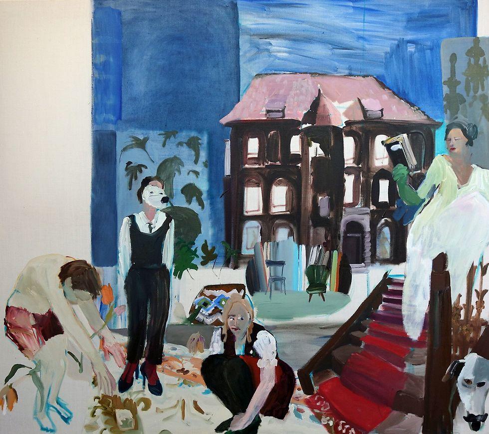 Gemälde, im Hintergrund erkennt man die Schlossfassade.