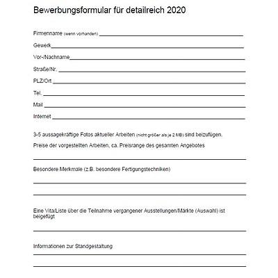 detailreich 2021: Bewerbungsformular