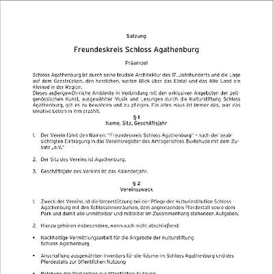 Freundeskreis Schloss Agathenburg e.V. - Die Satzung (Stand 2001)