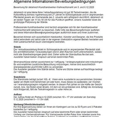 detailreich 2021: Allgemeine Informationen/Bewerbungsbedingungen