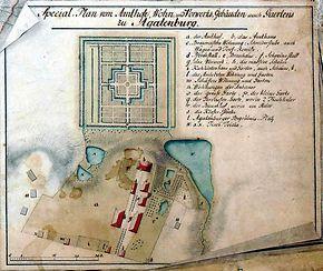 Die Schlossanlage mit dem Großen Barockgarten im Jahr 1776