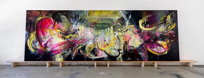 Abstraktes Gemälde in bunten Farben.