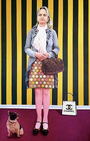 Lebensgroßes Porträt einer Frau in Öl.